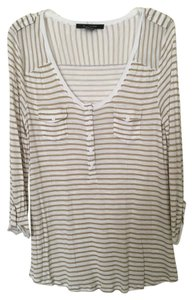 89th & Madison Casual 3/4 Sleeve Stripes Top Tan and white