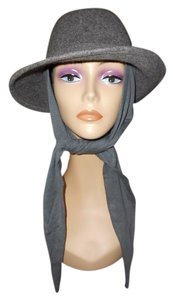 Betmar Womens Betmar Grey Wool Wrap Hat with Attached Neck Tie Scarf