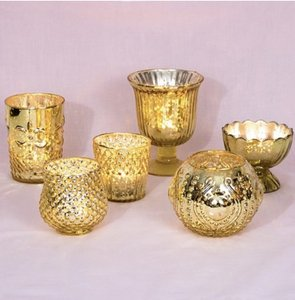 Vintage Glam Gold Mercury Glass Candle Holder Set Of 6