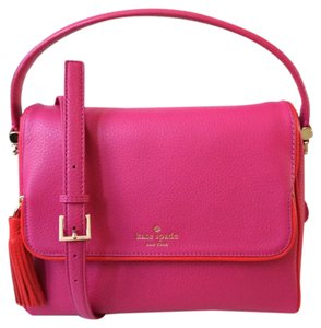 Kate Spade Cedar Street Small Hayden White Leather Satchel in sweetheart pink red