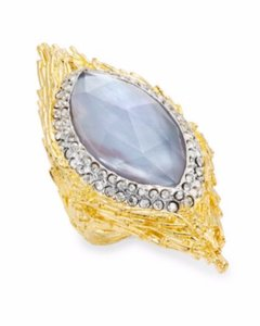 Alexis Bittar Alexis Bittar Iolite Mother-Of-Pearl Crystal Pave Marquis Feather Ring