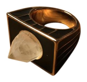House of Harlow 1960 House of Harlow 1960 Black Glacier Cocktail Ring with Gold Accents
