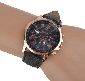 Geneva Black & Rose Gold Everyday Watch Free Shipping