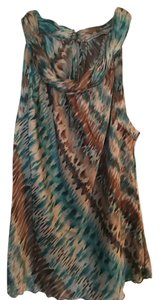 Signature by Larry Levine Neck Dressy Top Teal and brown