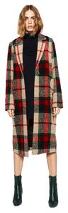 Zara Plaid Check Print Wool Winter Pea Coat