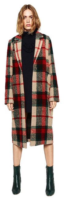 Item - Red Multi New Tags Plaid Check Wool Coat Size 6 (S)