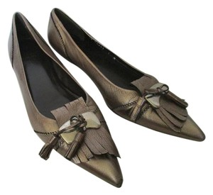 Stuart Weitzman Pointed Tassel Fringe Metallic Pewter/Dark Gold Flats