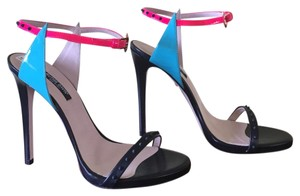 Ruthie Davis Black/Bright Blue/Bright Pink Platforms