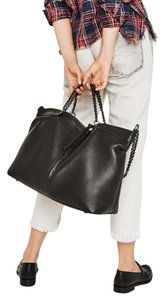 Zara leather bowler bag with metal chains Tote