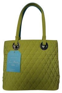 Vera Bradley Quilted Spring Casual Silver Hardware Cotton Tote in Lemon yellow / Turquoise blue