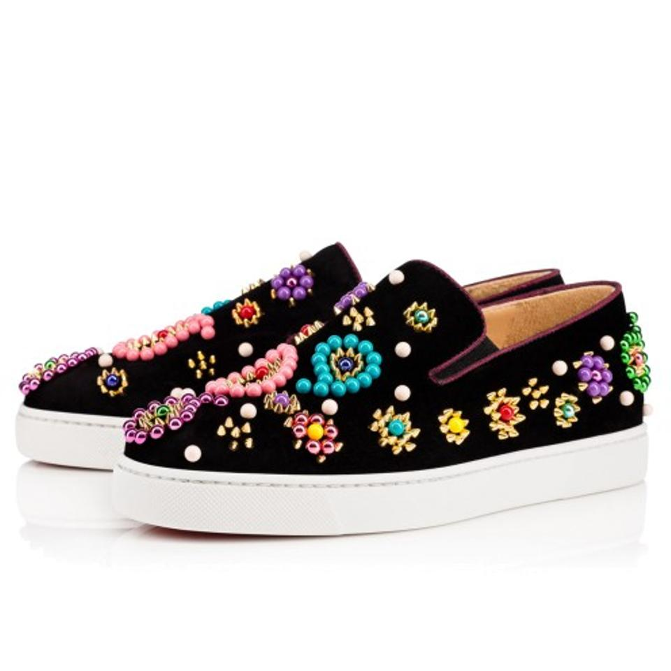 32895360b73 Christian Louboutin Black Candy Boat Beaded Studded Velvet Skate Loafers  Sneakers Size EU 39 (Approx. US 9) Regular (M, B) 47% off retail