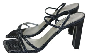 bebe Sexy Formal Designer Snakeskin Black Sandals