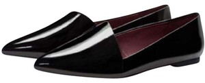Zara patent leather asymmetric loafers black Flats