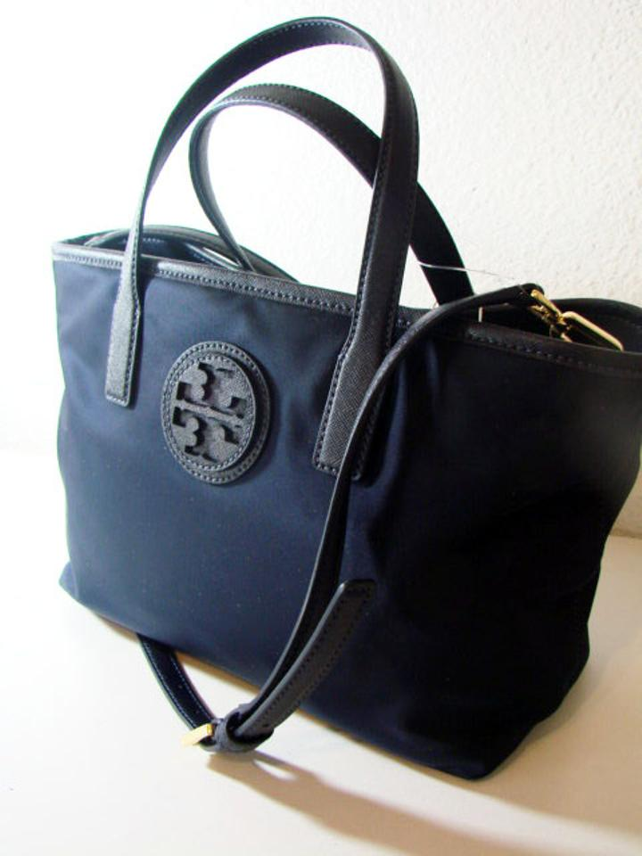 Tory Burch Nylon Leather Tote Navy Cross Body Bag
