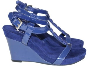 Aerosoles Mary Jane Suede Leather Blue Wedges