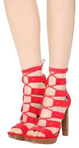 Michael Kors Wooden Heels Studded Strappy Lace Up Red Red, Coral Sandals