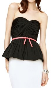 Tracy Reese Strapless Bustier Pleated Peplum Sweetheart Top