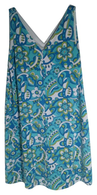 Item - Blue Colorful Summer Mid-length Short Casual Dress Size 10 (M)