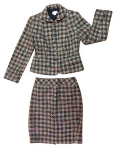 Ann Taylor LOFT ANN TAYLOR LOFT Tweed Skirt Suit Brown Orange Tan Blazer Lined 2P