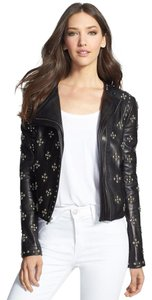 Diane von Furstenberg Studded Embellished Lambskin Moto Leather Jacket