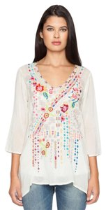 Johnny Was Emroidered Geometric Floral V-neck Tunic