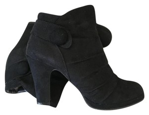 Rampage Suede Button Accent Black Suede Boots