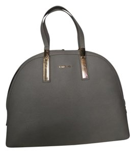 bebe Round Gold Hardware Faux Leather Satchel in Paloma Grey