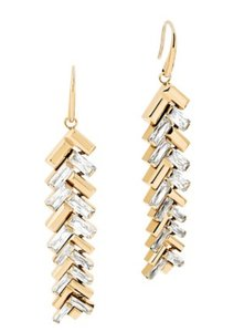 Michael Kors NWT MICHAEL KORS BAGUETTE PATCHWORK EARRINGS GOLD TONE W BAG MKJ6071