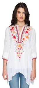 Johnny Was Longsleeve Embroidered Mandarin Collar Floral Tunic