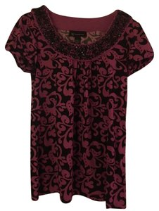 INC International Concepts Beaded Polyester Top Black and Pink