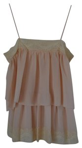 Bar III Lace Trim Lace Top Pink