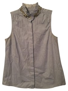 J.Crew Jewel Sleeveless Button Down Shirt Oxford