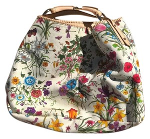 Gucci Flora Floral Canvas Horsebit Chain Hobo Bag