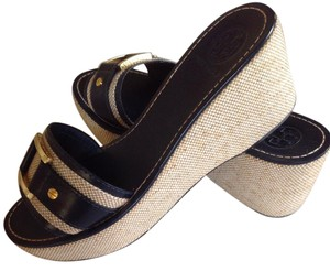 Tory Burch Leather Logo Hardware Very Good Conditon Navy / Natural Wedges