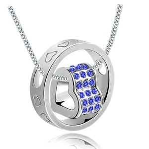 Swivel Silver & Blue Rhinestone Heart Necklace Free Shipping
