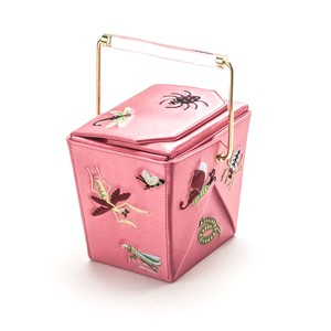 Charlotte Olympia Take Me Away Chinese Takeout Pink Clutch