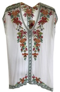 Johnny Was Embroidered Cap Sleeves V-neck Tunic