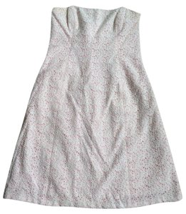Shoshanna short dress White and Pink Eyelet Floral Strapless on Tradesy