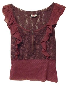 Free People Lace Ruffle Mesh Floral Top Maroon