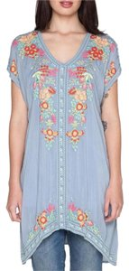 Johnny Was Embroidered Boho Cap Sleeves Tunic