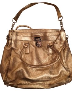 Michael Kors Leather Decorative Lock Button Closure Tote in Gold