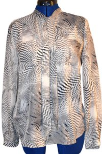 Ann Taylor LOFT Feather Print Epaulettes Top Brown & White