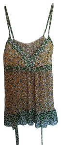 Daytrip Floral Sleeveless Sheer V-neck Top Green