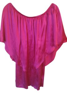 Voom by Joy Han short dress Fuchsia Silk Mini Off-the-shoulder on Tradesy