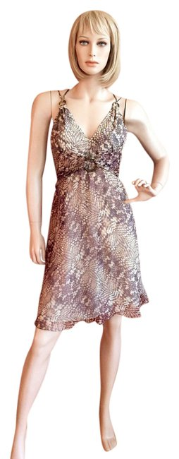 Item - Brown Silk Mid-length Night Out Dress Size 6 (S)