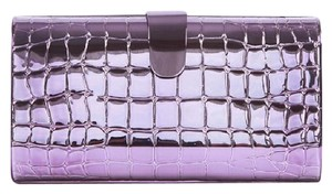 Edie Parker Rebekah Metal Croc Purple Clutch