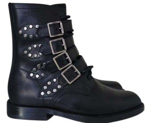 Saint Laurent Ysl Combat Studded black Boots
