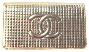 Chanel Chanel Metallic Silver Chocolate Bar Bifold Wallet