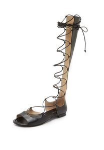 Michael Kors Lace Up Gladiator Leather Black Sandals
