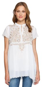 Johnny Was Embroidered Cap Sleeve Side Vents Boho Tunic